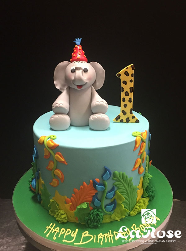 Elephant Jungle First Birthday Cake