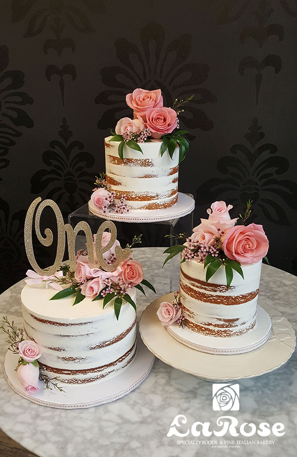 First Birthday Cake - Tiers Of Naked Cake