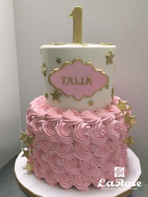 Girls First Birthday Cake - Stars And Pink Rosettes