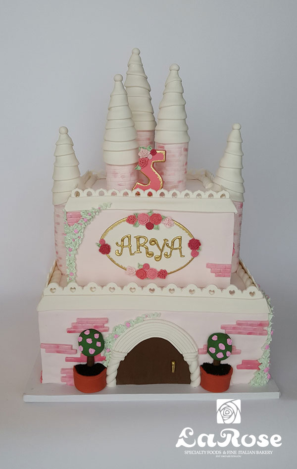 Kids Birthday Cake - Princess Castle Pink And White