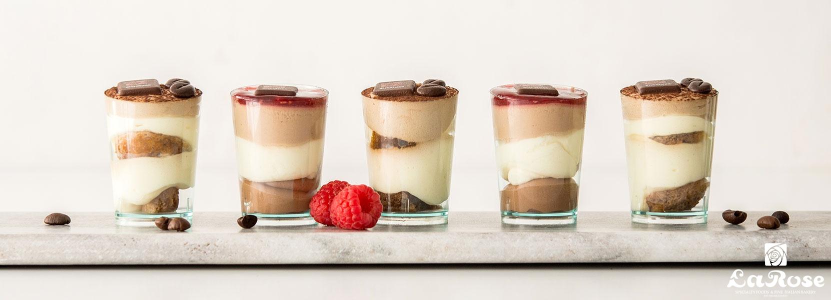 La Rose Individual Tiramisu and Triple Chocolate Mousse
