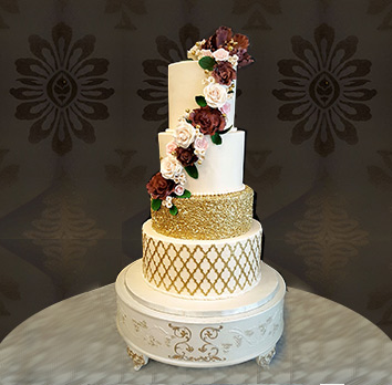 Gold White Burgundy Wedding Cake by La Rose in Milton, ON
