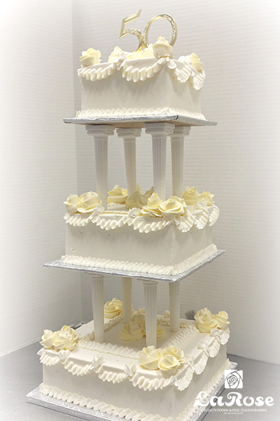 50th anniversary cake tiered by La Rose in Milton, ON