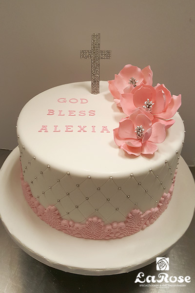 Cross sign cake by La Rose in Milton, ON