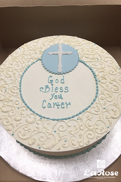 Baptism cross sign cake by La Rose in Milton, ON