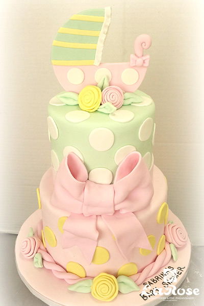 Baby Shower Cake Pink Green Yellow by La Rose in Milton, ON