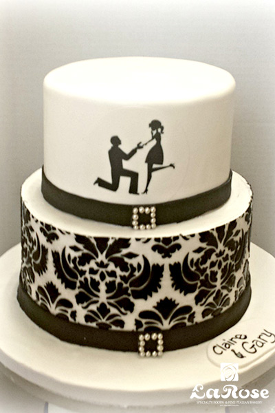Engagement Black And White Cake by La Rose in Milton, ON