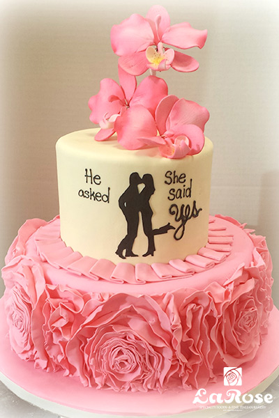 Engagement Hot Pink Ruffle Cake by La Rose in Milton, ON