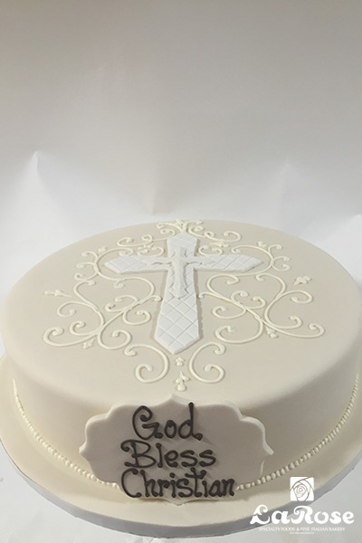 White color cake cross sign by La Rose in Milton, ON