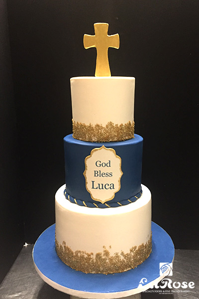 Navy and gold communion cake by La Rose in Milton, ON