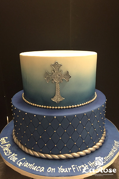 Navy And Silver Communion Cake by La Rose in Milton, ON