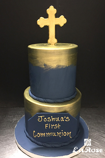Navy & Gold Communion Cake