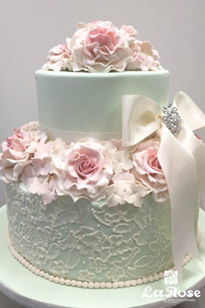 Mint Green Bridal Shower Cake by La Rose in Milton, ON
