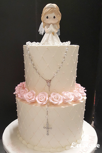 Baptism Communion Cake For Girl All Buttercream With Roses And Rosary