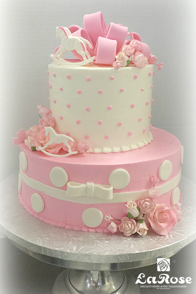 Two tier buttercream baby shower cake by La Rose in Milton, ON