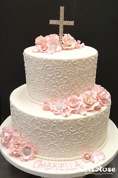 Baptism Communion Cake For Girl With Piping Scrollwork
