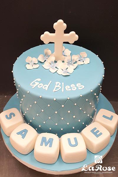 Baptism Communion Cake For Boy Blue With Blocks