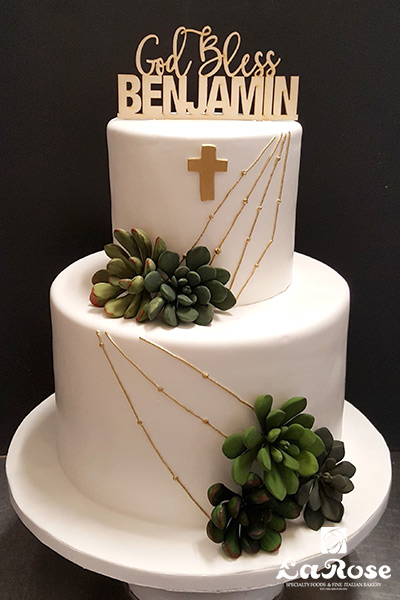 Baptism Communion For Boy With Succulents