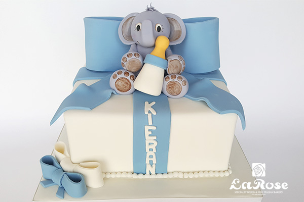 Blue baby showers cake by La Rose in Milton, ON