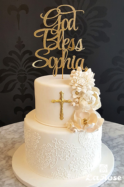 Baptism Two Tier Cake For Girl