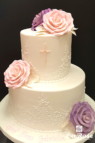 Baptism Two Tier For Girl With Large Roses