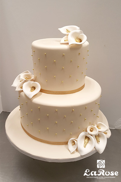 Two tier golden cake by La Rose in Milton, ON