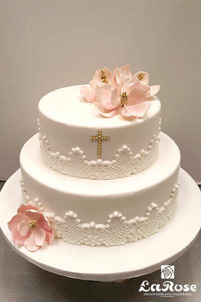 White Lace Communion Cake by La Rose in Milton, ON