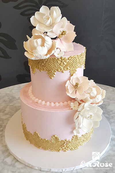 Pink and golden baby showers cake by La Rose in Milton, ON