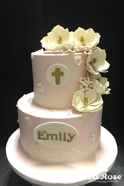 Communion Cake Edible Lace With Gumpaste Cascade Flowers