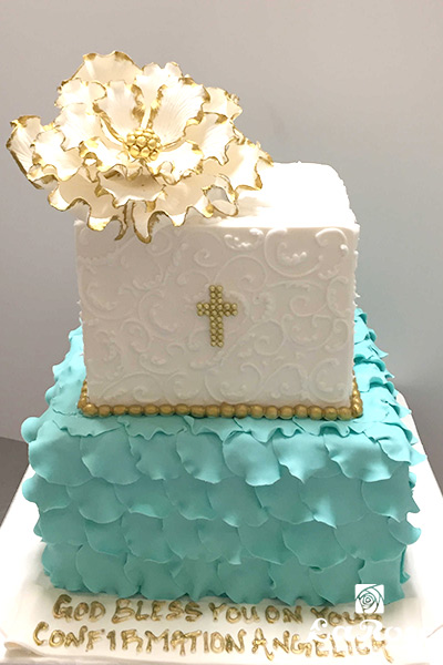 Aqua Petal And Scroll Religious Cake by La Rose in Milton, ON