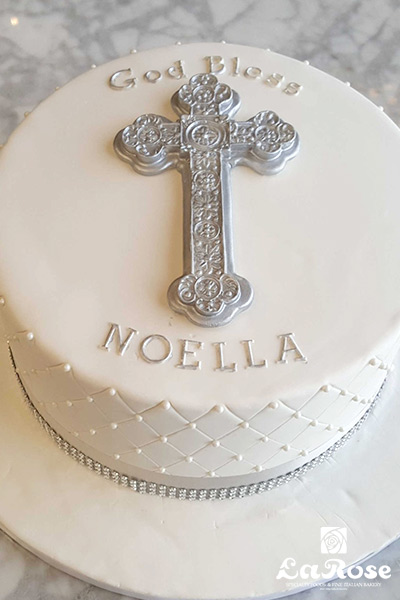 Baptism Communion Confirmation Cake White With Silver Large Cross