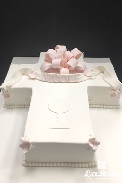 Cross Cake With Bow by La Rose in Milton, ON