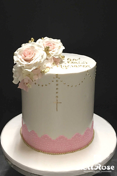 Tall Cake With Edible Lace And Gold Rosary