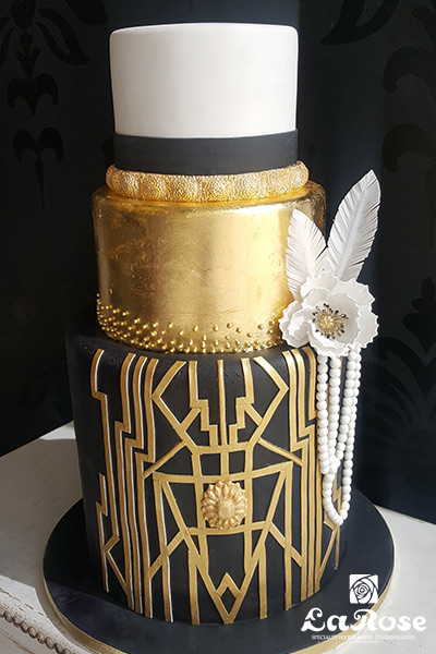 Golden Black Wedding Cake by La Rose in Milton, ON
