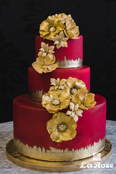 Golden Red Wedding Cake by La Rose in Milton, ON