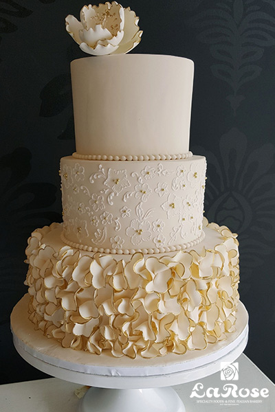 Wedding Cake Brush Embroidery Petal Ruffle Gold Tip