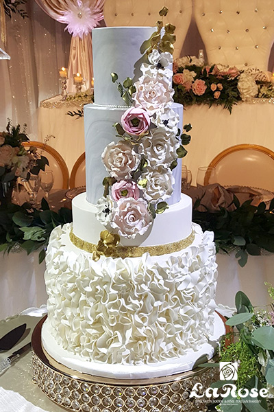Marble Wedding Cake With Petal Ruffle