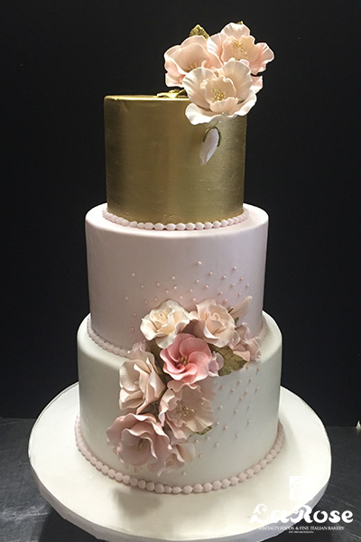 Pink And Gold Wedding Cake by La Rose in Milton, ON