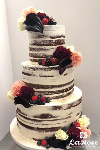 Semi Naked Cake With Fruit And Blooms by La Rose in Milton, ON