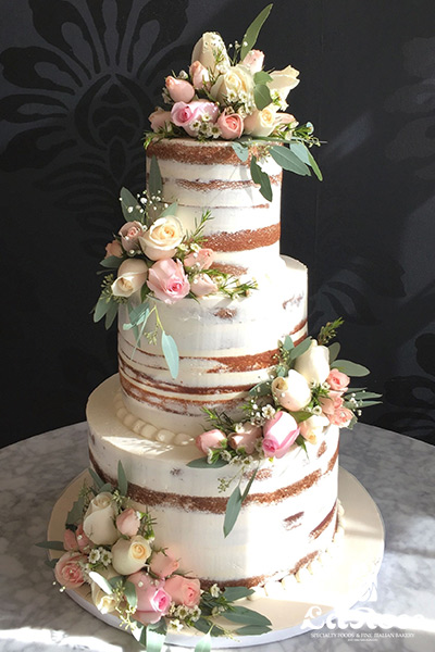 Semi Naked Wedding Cake Fresh Roses