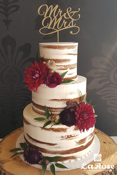 Beautiful naked wedding cake ideas by La Rose in Milton, ON