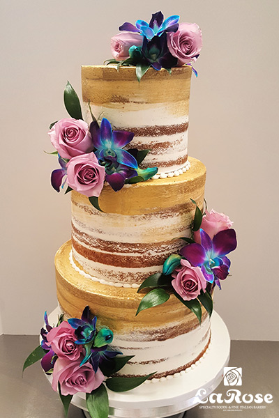 Semi Naked Cake With Gold Paint by La Rose in Milton, ON