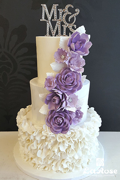 Wedding Cake With Purple Gumpaste Flowers Cascade