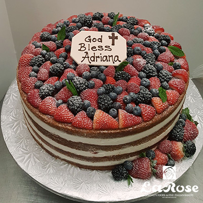 Confirmation cake naked cake with fruit by La Rose in Milton, ON
