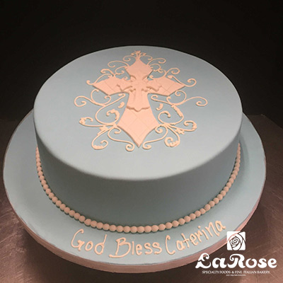 Single Tier Confirmation Cake by La Rose in Milton, ON